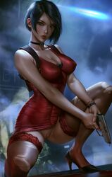 1girls absurdres ada_wong blood breasts cleavage dress female female_only gun high_heels highres logan_cure pussy resident_evil solo thighhighs torn_thighhighs