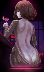 1girl ass_cleavage back_to_viewer bar beauty_mark blue_eyes cocktail_dress cocktail_glass female indoors kaoming looking_over_shoulder lounge motel night nighttime no_bra no_panties presenting_backside short_hair shoulder_blades spine virgin_killer_sweater
