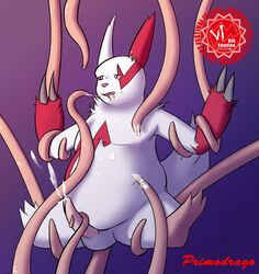 1boy anal anal_sex chubby cum cum_while_penetrated erection furry interspecies male nintendo penis pokémon_(species) pokemon pokemon_rse red_dragon_roar solo suspension tentacle tentacle_sex tentacles text video_games watermark zangoose