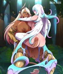 ambiguous_penetration ass asymmetrical_docking blonde_hair breast_press breasts clenched_teeth cow_print cow_tail crossover dark-skinned_female dark-skinned_futanari dark_nipples dark_skin detached_sleeves doctor_zexxck elbow_gloves erilsa final_fantasy final_fantasy_xiv full-package_futanari futa_on_female futanari gigantic_breasts green_eyes grin horns huge_ass huge_breasts large_penis lifting_person melissee_(doctor_zexxck) monster_girl muscular_female muscular_futanari nipples original pointy_ears roegadyn rough_sex sex slime_hair sweat tail tentacle_hair testicles thick_thighs thighhighs white_hair x-ray