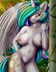 2018 2019 alicorn anthro anthrofied areola barely_visible_pussy blue_hair breasts cutie_mark equid feathers female flower friendship_is_magic fur furry green_hair highres horn kasaler large_breasts mammal multicolored_hair my_little_pony navel nipples nude plant pond princess_celestia_(mlp) princess_luna_(mlp) purple_eyes purple_hair pussy two_tone_hair white_feathers white_fur wings