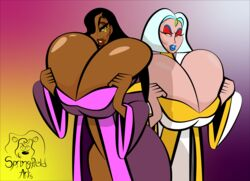 2girls beauty_mark big_breasts big_nipples blue_hair blue_lipstick bursting_breasts cleavage egyptian farah female_only full_cleavage gradient_background huge_breasts lady_farah laquadia_(legend_of_queen_opala) large_breasts larryspring96 legend_of_queen_opala long_hair milf mole_above_mouth presenting_breasts priestess robe sex short_hair skindentation thick_lips