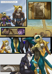 ! 1boy 2girls anthro armor balls beach big_breasts bikini blue_eyes blue_penis blush breast_grab breasts bulge camel_toe cetacean cheetah cleavage clothed clothing clothing_down comic crouching deathclaw delphinoid ear_piercing elbow_fin english_text erection fallout fangs felid feline female fish floppy_ears furry grabbing_from_behind green_eyes group group_sex hair hand_on_breast hand_on_hip heart humanoid_penis interspecies licking licking_lips link2004 long_ears male mammal marine midriff navel nipple_outline oceanic_dolphin one-piece_swimsuit open_mouth orca outside penis piercing precum precum_string pussy pussyjob sand seaside shark sky smile speedo standing swimsuit tattoo text thick_thighs thigh_sex threesome tight_clothing tongue tongue_out toothed_whale vein veins veiny_penis video_games water wet wide_hips