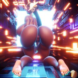 1girls 3d anus ass big_ass big_breasts endless endless_(artist) endlessillusionx feet female female_only long_hair overwatch pussy soles solo symmetra