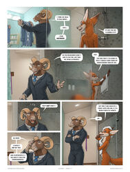 2019 animal_genitalia anthro barely_visible_genitalia bovid canid canine caprine clothed clothing comic cum cum_on_shirt dialogue duo english_text fox fully_clothed fully_sheathed fur horn inside jayden_coultier_(zaush) male mammal nude orange_fur sheath shower text url zaush