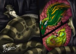 ambiguous_gender anthro basilisk_(lizard) belinda blue_eyes breasts bulge cave claws digital_media_(artwork) dolus dragon female female_pred feral frill gorgon green_body group happy hi_res horn inside internal larger_female lizard lying male male_prey membranous_wings naga nipples non-mammal_breasts nude on_back plumed_basilisk plussun reptile scalie serpentine sharp_claws size_difference smile snake snake_hair story story_in_description toe_claws vinnig vore western_dragon wings