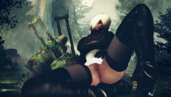 2b amonsrule android android_2b blindfold leather legs legs_spread nier nier:_automata pussy short_hair spread_legs video_games white_hair yorha_2b