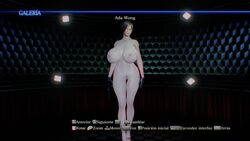ada_wong asian breasts gloves gun large_breasts mod naked nipples pistol pubic_hair resident_evil resident_evil_6 screen_capture screencap short_hair spanish_text wide_hips