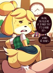 1boy 1girls animal_crossing animal_ears anthro ass bell black_eyes blonde_hair blue_skirt blush_stickers bonsai breasts buck_teeth clock clothed_female_nude_male cowgirl_position cum cum_in_pussy desk dog_ears dog_girl dog_tail english_text erection female from_behind furry green_vest hair_bell hair_ornament hair_tie half-closed_eye highres human indoors interspecies isabelle_(animal_crossing) jingle_bell looking_at_viewer looking_back male_pov medium_breasts miniskirt nintendo no_panties nude one_eye_closed open_mouth penis plaid plaid_vest pov sex shirt short_hair short_sleeves sitting sitting_on_person skirt skirt_up speech_bubble spread_legs steecks straight sweat tail talking testicles text text_focus thick_thighs tied_hair topknot uncensored veins veiny_penis vest villager_(animal_crossing) white_shirt wide_hips