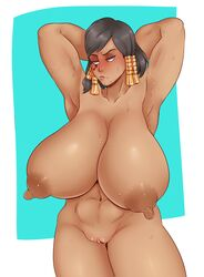 1girls abs areolae armpit_stubble armpits arms_up blush breasts clitoris dark-skinned_female dark_skin erect_nipples female female_only hair_ornament highres huge_breasts nude overwatch pharah pubic_stubble puffy_nipples pussy solo sunnysundown sweat sweating tagme uncensored