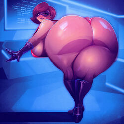 1girl cleavage curvy erect_nipples female helen_parr huge_areolae huge_ass huge_breasts milf puffy_nipples riendonut short_hair the_incredibles thick_lips voluptuous wide_hips