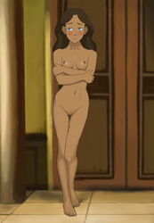 anaxus avatar_the_last_airbender barefoot blue_eyes blush breasts brown_hair crossed_arms edit female katara long_hair looking_away naked nipples pussy room shy small_breasts solo standing tagme
