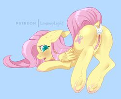 anal anal_sex ass blue_background blush buttplug dock equid equine eyelashes female feral fluttershy_(mlp) friendship_is_magic hair hooves lemonylight looking_back mammal my_little_pony nude open_mouth penetration pink_hair pterippus pubes pussy sex_toy simple_background solo wings