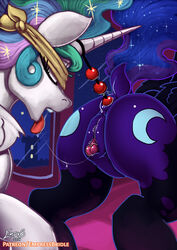 2019 absurd_res alicorn anal anal_beads anal_sex anus ass clitoris closed_eyes cutie_mark dock duo empressbridle equid female female/female feral friendship_is_magic hi_res horn incest mammal my_little_pony nightmare_moon_(mlp) open_mouth penetration princess_celestia_(mlp) pussy sex_toy sibling sisters tongue tongue_out wings yuri