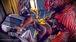 1boy 1girl 2019 3d 5_fingers alien animated ass breasts chroma_(warframe) digital_media_(artwork) duo erection female from_behind_position hand_on_ass hi_res high_framerate humanoid humanoid_on_humanoid inside knot knotting loop male no_sound not_furry nude penetration penis sex side_view tagme tenno text thick_thighs twitchyanimation vaginal vaginal_penetration valkyr_(warframe) video_games warframe watermark webm wide_hips