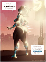 city curvy huge_ass hugotendaz looking_at_viewer looking_back mayhem_(character) muscular_female simbiote spider-man_(series) thick thick_thighs wide_hips