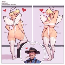 2019 abs angel angel_wings big_ass big_breasts big_hair blonde_hair blue_eyes breasts chubby cleavage costume cowboy_hat halo impossible_clothes jamesab looking_at_viewer michael_brooks muscles muscular original_character pubic_hair stephanie_brooks thick_thighs thigh_boots thighhighs