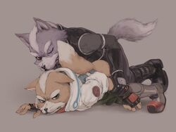 anal anal_sex anthro canid canine canis clothed clothing duo forced fox fox_mccloud fully_clothed hi_res male male/male mammal nintendo penetration rape star_fox tears unknown_artist video_games wolf wolf_o'donnell