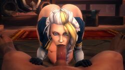1boy 1girls 3d animated areolae ass big_breasts breasts dark-skinned_male deepthroat erection fellatio female gloves jaina_proudmoore large_breasts looking_at_viewer male nipples noname55 oral penis pov sound source_filmmaker straight webm world_of_warcraft