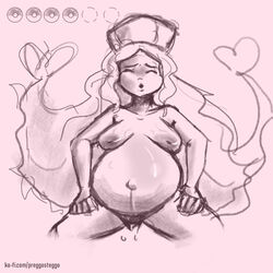 1girl belly big_belly birth breasts caitlin_(pokemon) closed_eyes female female_only hat heart hud human long_hair monochrome navel nintendo nude open_mouth poke_ball pokemon pokemon_bw preggosteggo pregnant pubic_hair pussy pussy_juice sketch solo spread_legs squatting standing text url veins veiny_breasts very_long_hair video_games watermark wet