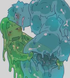 1boy anthro blue_eyes blush breasts brother_and_sister female goo_girl goo_guy green_eyes looking_back monster_boy monster_girl original siblings slime spread st05254