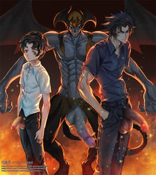 3boys abs denim devilman devilman_crybaby flaccid fudou_akira jeans kaworu_(artist) large_penis looking_at_viewer male_focus multiple_boys pants penis satan_(devilman) shirt smirk spiked_hair teeth testicles