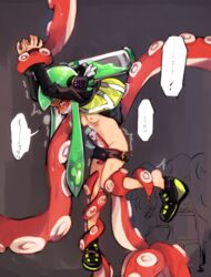 arms_up bike_shorts blush breasts female full-face_blush furrowed_eyebrows gag green_hair groin headgear improvised_gag ink_tank_(splatoon) inkling leg_grab long_hair long_sleeves nipples octarian octotrooper open_clothes open_vest paint pixiv13691592 red_eyes restrained shoes single_vertical_stripe small_breasts speech_bubble splatoon splatoon_(series) splatoon_1 squidbeak_splatoon suction_cups tears tentacle tentacle tentacle_hair tentacles_under_clothes vest wrist_grab