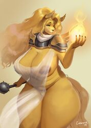 anthro big_breasts blonde_hair breasts canid canine canis chains clothed clothing domestic_dog emberfoxart emberwick female fur hair hi_res holding_object long_hair mabel_(cherrikissu) mace magic mammal melee_weapon pussy sheer_clothing skimpy solo standing translucent transparent_clothing valkyrie weapon yellow_eyes yellow_fur