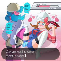 2girls breasts clothed crystal_(pokemon) dildo female female_only heart heart-shaped_pupils hud lyra_(pokemon) pokemon sex_toy strap-on text yuri