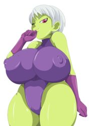 areolae big_breasts bodysuit breasts cameltoe cheelai dragon_ball dragon_ball_super dragon_ball_super_broly dragon_ball_z female nipples smile solo tease toshiso wink