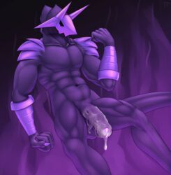 abstract_background balls claws cum cum_on_penis demon dripping fist flaccid floating foreskin hi_res horn humanoid_penis male male_only mask muscular nude penis solo testowepiwko