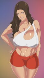 1girl 2019 abs biceps big_breasts breasts brown_eyes brown_hair clenched_teeth dark-skinned_female dark_skin earrings eyebrows eyelashes female female_only gigantic_breasts hair hand_on_hip huge_breasts human jewelry large_breasts lips lipstick long_hair looking_at_viewer muscular muscular_female shorts solo teeth tenchi tenchizone thighhighs thighs violet_myers voluptuous wide_hips