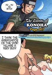 ass bent_over black_hair blonde_hair canon_couple comic couple dialogue doggy_style female green_eyes looking_back male male_penetrating naked nara_shikamaru naruto naruto:_the_last naruto_shippuden nude peeping penetration ponytail sarutobi_konohamaru sex straight super_melons teeth temari text tied_hair twintails yellow_hair