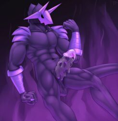 abstract_background balls claws cum cum_on_penis demon erection fist floating foreskin hi_res horn humanoid_penis male male_only mask muscular nude penis solo testowepiwko