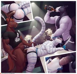 2019 alcohol anal anal_sex anthro anthro_on_anthro ass balls beverage blush bottomless bulge clothed clothing deep_throat drinking equid equine erection felid feline fellatio fur group group_sex hair horse humanoid_hands inside interspecies jockstrap jodira male male/male mammal medial_ring mostly_nude muscular muscular_male oral penetration penis public raised_tail sex shirt sigma_x spank_marks spitroast striped_fur stripes tahoe threesome two_doms_one_sub underwear url vein white_fur