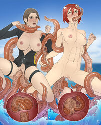 2girls abs all_the_way_through anal areolae big_breasts breasts brown_hair bulge cephalopod clothing deep_penetration double_penetration female hair internal kraken lara_croft multiple_girls nipples nude oral penetration piratepup pussy red_hair rolling_eyes sex stomach_bulge tentacle tentacle_sex tomb_raider tongue tongue_out uterus vaginal_penetration video_games x-ray zoophilia