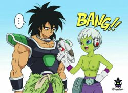 1boy 1girl alien battle_armor breasts_out broly broly_(dragon_ball_super) cheelai dragon_ball dragon_ball_super dragon_ball_super_broly duo female male saiyan straight topless