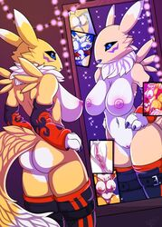 3_fingers anthro anus areola armwear ass big_breasts black_sclera breasts canid canine close-up clothing digimon digimon_(species) female fox fur hi_res iron_sunsetscales mammal mirror ni3ls nipples nude nude_selfies pussy renamon solo spread_legs spreading yellow_fur