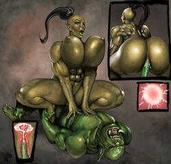 ass big_breasts big_butt breasts cowgirl_position cum cum_in_pussy cum_in_uterus cum_inside female huge_breasts huge_butt humanoid impregnation jlazarus male on_top orc orc_female ovum penis pussy sex sperm_cell uterus vaginal_penetration x-ray