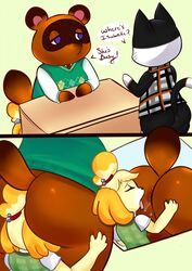 ? anal animal_crossing anthro anthro_on_anthro anus ass balls big_butt bottomless bubble_butt canid canine canis close-up clothed clothing dialogue domestic_cat domestic_dog drooling english_text felid feline felis female floppy_ears fur hand_on_butt isabelle_(animal_crossing) lucidkitty male male/female mammal nintendo open_mouth oral presenting presenting_anus presenting_hindquarters procyonid punchy_(animal_crossing) question raccoon rimming round_ears saliva senpaikitten sex shih_tzu shirt standing text thick_thighs tom_nook_(animal_crossing) tongue tongue_out video_games whiskers wide_hips