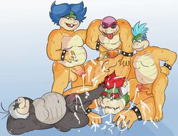 age_difference anal anal_sex anthro anus ass balls biceps big_penis bowser bracelet brown_scales clothing cosmic51moon cum cum_inside erection eyewear father father_and_son feet fellatio glasses group group_sex horn humanoid humanoid_penis incest jewelry koopa koopaling larry_koopa legwear ludwig_von_koopa male male/male mario_bros morton_koopa_jr. musclegut muscular muscular_male nintendo nude old oral orgasm overweight overweight_male parent penetration penis penis_size_difference precum roy_koopa scales scalie sex size_difference slightly_chubby small_dom_big_sub smile son spikes submissive submissive_male sucking swallowing technical_incest thick_penis thrusting tongue video_games