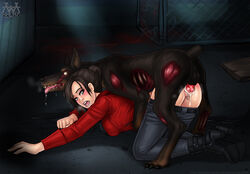 1monster aaaninja black_hair blue_eyes canine cerberus_(resident_evil) claire_redfield cum cum_in_pussy cum_inside doggy_style female female_on_feral human interspecies knot knotted knotting male male/female mounting open_mouth pants pants_down rape resident_evil sex straight vaginal_penetration vaginal_sex wide_eyed zombie zoophilia