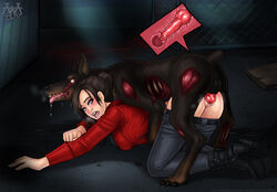 1monster aaaninja black_hair blue_eyes canine cerberus_(resident_evil) claire_redfield doggy_style female female_on_feral human interspecies knot knotted knotting male male/female mounting open_mouth pants pants_down rape resident_evil sex straight vaginal_penetration vaginal_sex wide_eyed x-ray zombie zoophilia