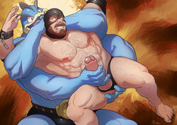 4_arms abs alpha0 anal anal_sex anus areola balls barazoku barefoot beard big_dom_small_sub blue_eyes body_hair bulge clenched_teeth clothed clothing erection facial_hair fingering hair handjob human humanoid_penis looking_back machamp mammal manly mask mostly_nude moustache multi_arm multi_limb muscular nintendo nipples not_furry open_mouth pecs penetration penis pokémon_(species) pokemon precum red_eyes sex size_difference smile teeth thick_thighs tongue topless uncut underwear video_games yaoi