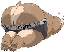 2019 anthro ass balls big_butt blush brown_fur clothing fur gayousi7 heart huge_butt male mammal overweight overweight_male simple_background solo sweat tongue tongue_out underwear underwear_down ursid white_background