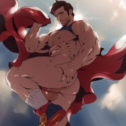 abs anal_hair anus arm_hair armpit_hair ass ass_grab balls barely_clothed big_ass big_nipples blue_eyes body_hair brown_hair cape chest_hair clark_kent cute dc dc_comics dizdoodz facial_hair flying hairy_ass hairy_balls hairy_legs lens_flare light_skin looking_at_viewer male male_only muscular nipple_holes nipple_slits nipples outdoors pecs perineum presenting_anus presenting_hindquarters revealing_clothes sky smile sneakers socks solo spread_ass stubble suggestive superhero superman superman_(series) thick_thighs thong thong_aside veiny_balls