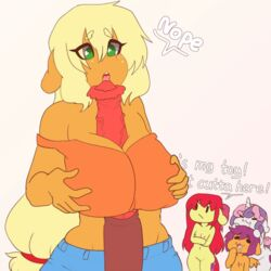 2019 animated anthro apple_bloom_(mlp) applejack_(mlp) big_macintosh_(mlp) big_penis breasts clothing cock_worship cutie_mark cutie_mark_crusaders_(mlp) dialogue english_text equid equine female freckles friendship_is_magic green_eyes group hair horn huge_cock huge_penis incest licking long_hair mammal my_little_pony oral penis_awe scootaloo_(mlp) sex sibling simple_background sisters sweetie_belle_(mlp) text titjob tolsticot tongue tongue_out unicorn veiny_cock veiny_penis wings young