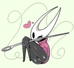 arthropod ass black_skin clothing dark_skin eyelashes female front_view heart hollow_knight hornet_(hollow_knight) insects low_res one_eye_closed plump_labia presenting presenting_hindquarters presenting_pussy pussy solo sweater wink ɯ(_–_–_)ɯ