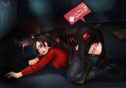 1monster aaaninja black_hair blue_eyes canine cerberus_(resident_evil) claire_redfield cum cum_in_pussy cum_inside doggy_style female female_on_feral human interspecies knot knotted knotting male male/female mounting open_mouth pants pants_down rape resident_evil sex straight vaginal_penetration vaginal_sex wide_eyed x-ray zombie zoophilia
