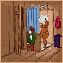 2019 age_difference anthro bathroom breasts clothed clothing disney duo female hi_res humanoid_penis kit_cloudkicker male mammal masturbation mature_female nude older_female penis rebecca_cunningham shampoo shower_room size_difference talespin teenager ursid voyeur vylfgor young younger_male